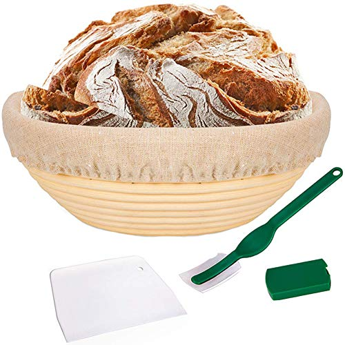 10 Inch Bread Banneton Proofing Basket Set - with Cloth Liner, Dough Scraper and Bread Lame for Professional & Home Bakers