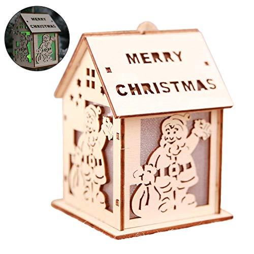 New Year Christmas LED luminoso cabine Pendant ornamenti natalizi da tavolo LED luminoso legno casa ciondolo albero di Natale Decorazioni per la casa