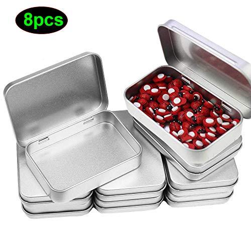 8 Packung 4.52 x 3.35 x 0.87 Zoll Silber Metalldose, Kleine Blechdosen Tragbare Blechbox Rechteckige Dosen Container mit Scharnier Deckel für Nähen Perlen Candy Schmuck Zubehör-Box, Haus Organizer