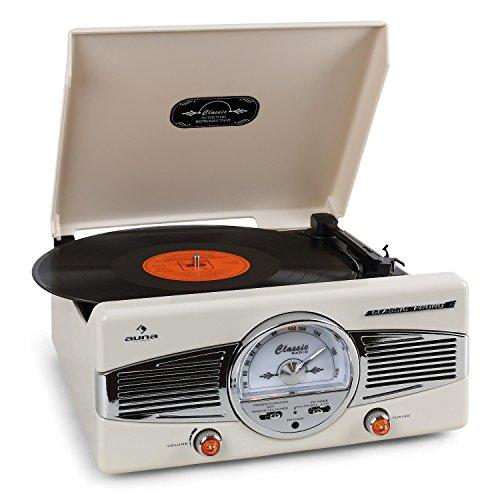 auna MG-TT-82C - Retroanlage, Stereoanlage, Plattenspieler, Riemenantrieb, max. 45 U/min, Stereo-Lautsprecher, 50er Design, Start-Stopp-Automatik, Radio-Tuner, UKW-Empfänger, Cinch, Creme