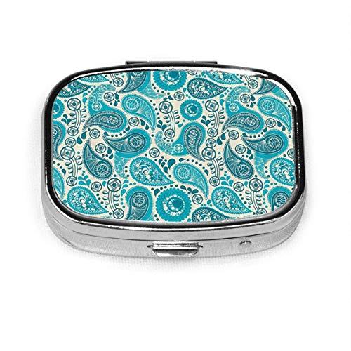 Patrón de Paisley antiguo patrón floral personalizado moda plata píldora caja medicina tableta titular cartera organizador caso para bolsillo o monedero