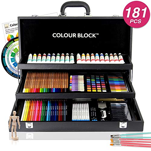 COLOUR BLOCK 181 pc Mixed Media Art Set in Durable PU leather Case - Soft & Oil Pastels, Acrylic & Watercolor Paints, Sketching, Charcoal & Colored Pencils and Tools - Professional Art Set All Artists