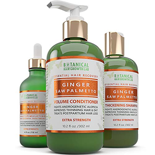 BOTANICAL HAIR GROWTH LAB - Scalp Treatment, Shampoo and Conditioner Gift Set - Ginger Saw Palmetto - Essential Hair Recovery - Anti-Inflammatory/Extra Strength - For Hairloss Alopecia Postpartum DHT