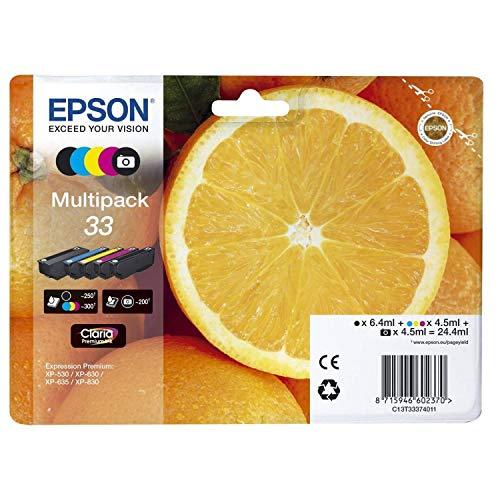 Epson Original T3337 Tinte, Orange, Claria Premium, Text- & Hochglanzfotodruck (Multipack 5-farbig) (CYMK + Photo-schwarz)