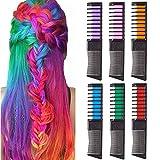 Haarkreide für Mädchen, SIGHTLING 6 Stück Haarfarbe Kamm, Temporär Haarfarbe Kreide Kamm Haar...