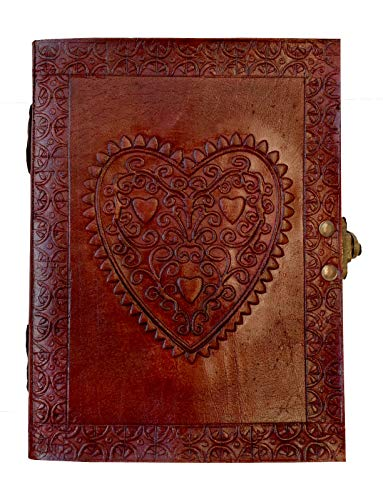Book of Shadows Heart Leather Journal Bound Unlined Sketchbook Vintage Notebook with Lock Brown Writing Diary Pretty Handmade Wiccan grimoire Journal Blank Spell Witch Paper Gifts for Women 7x5 inch