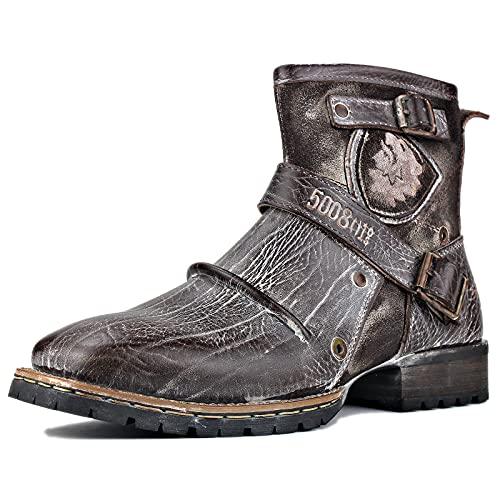 OSSTONE Botas para Moto Botines Hombre de Invierno Piel Zapatos Negras Vestir Nieve Piel Forradas Calientes Planas Combate Militares Cremallera Boots OS-5008-1-AR-11-R