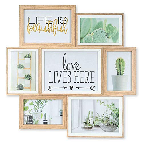 levandeo Bilderrahmen Collage B x H 46x47cm 8 Fotos 10x15 13x18 15x20 Natur Eiche Farbig Holz Weiß fertig montiert Glas