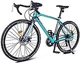 AYHa Adulto bicicleta de carretera, bicicletas de aluminio ligero, Ciudad de cercanías bicicletas con doble freno de disco, 700 * 23C Ruedas,Azul