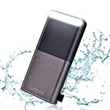 Luxtude Waterproof Power Bank 20000mAh, Portable Charger Built-in LED Camping Light, 4.8A Fast Charging Dual USB Outputs External Battery Pack and Portable Phone Charger for iPhone, iPad, Samsung etc.