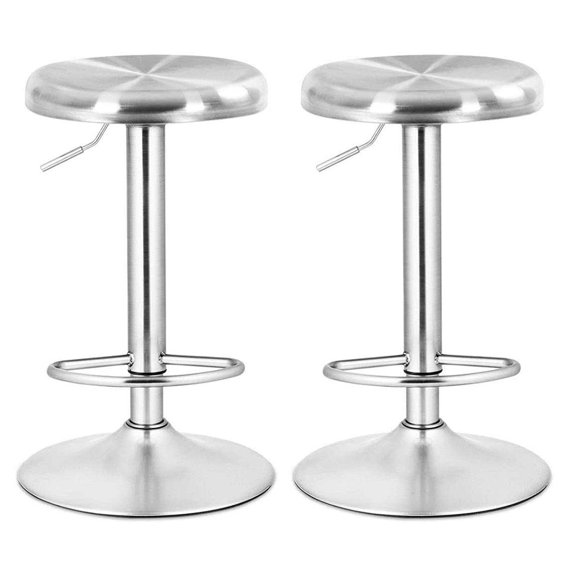 COSTWAY Bar Stool, Modern Swivel Adjustable Height Barstool, Stainless Steel Round Top Barstools with Footrest, for Pub Bistro Kitchen Dining Set of 2 mqbhy1966360515