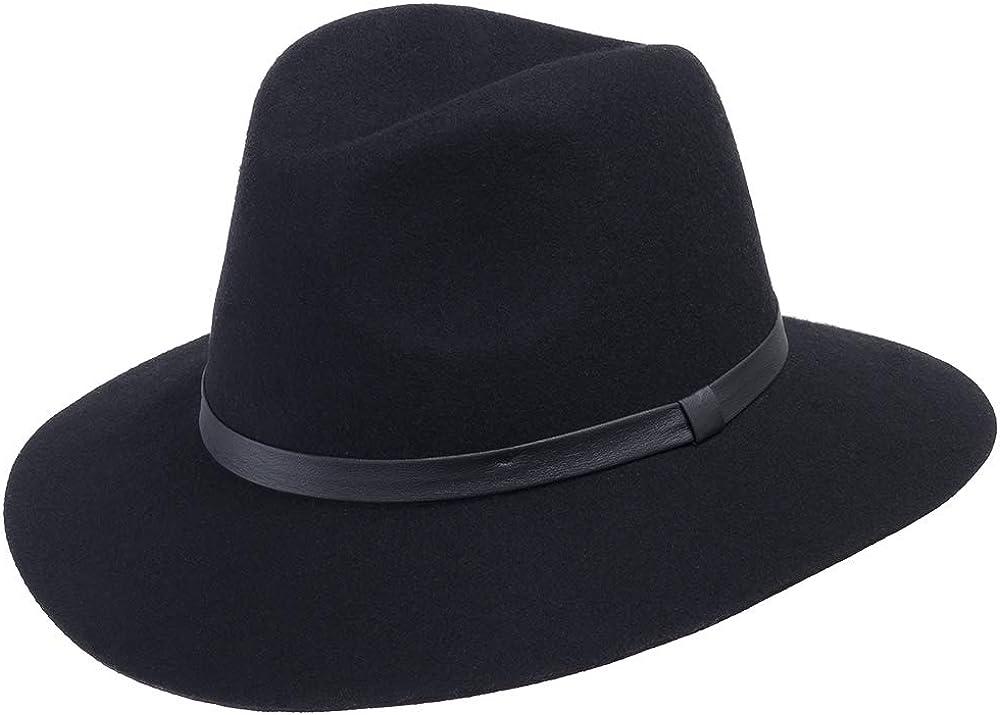 ULTRAFINO Aster Wool Felt Floppy Brim Fedora Hat for Fall and Winter