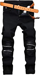 Mens Fashion Stretch Skinny Moto Biker Jeans