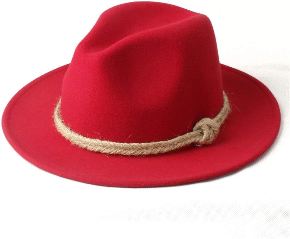 HXGAZXJQ Men Women Winter Fedora Hat Wide Brim Church Hat Panama Hat Outdoor Travel Fascinator Hat Size 56-58CM (Color : Red, Size : 56-58)