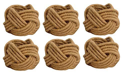 Kaizen Casa Set of 6 Classic Braided Jute Burlap Napkin Rings (Cream) (Outer: 5.08cm Inner: 3.81cm)