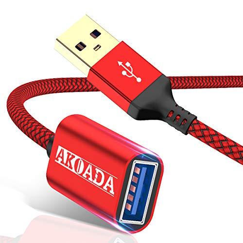 AkoaDa Cable de extensión USB 3.0, paquete de 2 [6.6 pies + 10 pies] Tipo A macho a USB A cable extensor hembra Transferencia de datos...