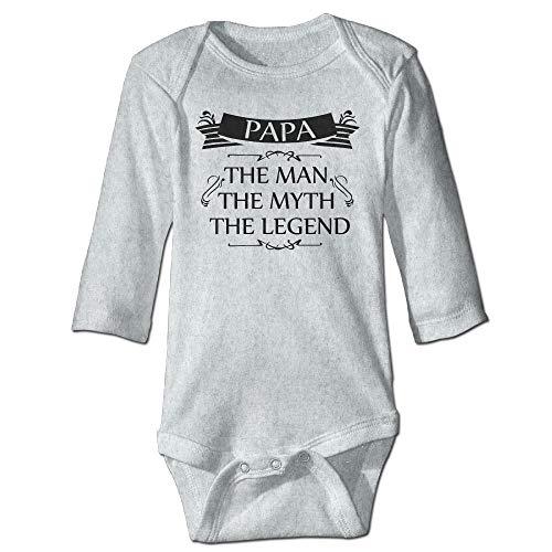 Body de manga larga para bebé con diseño de orugas, unisex, para bebé, para papá, el hombre, el mito de la leyenda, traje de bebé de manga larga, traje de sol, color ceniza