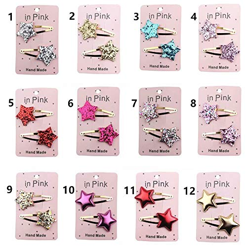 12 Paar Haarspangen Mädchen Snap Haarspangen Haarnadeln Haar Klammer Mehrfarbige Hairclips mit Pentagramm-Krone für Kinder Haarschmuck (B)