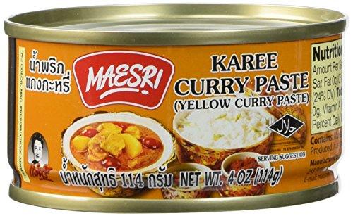 Maesri Yellow Curry Paste Kang Karee 4 Oz Pack of 4