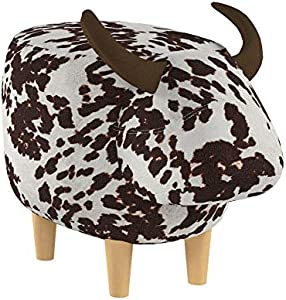 Christopher Knight Home Bessie Patterned Velvet Cow Ottoman, Brown Milk Cow / Natural