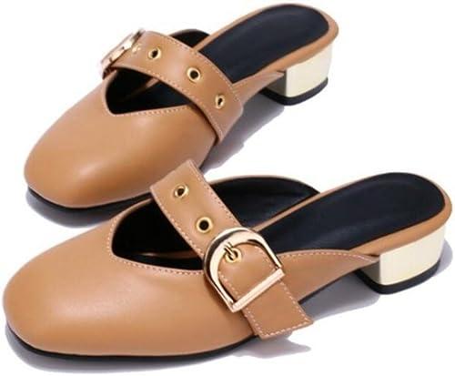 XIE Sandalias de señoras PU Ronda de la Cabeza del Zapato Hebilla   talón de rocío Trasero Comodidad, 3 cm, Trabajo Compras, 33-42