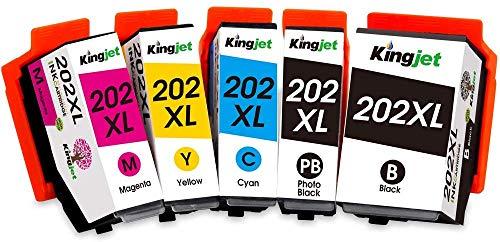 Kingjet 202XL Compatibile Epson 202 202 XL Cartucce d'inchiostro per Epson Expression Premium XP-6000 XP-6005 XP-6001 XP-6105 XP-6100 (Nero/Nero Foto/Ciano/Magenta/Giallo)