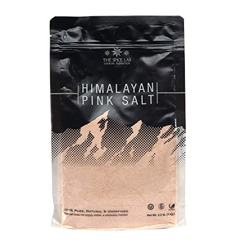 The Spice Lab Himalayan Salt - Super Fine 1 Kilo (2.2 Lbs) - Pink Himalayan Salt is Nutrient and Mineral Dense for Health - Gourmet Pure Crystal - Kosher & Natural Certified