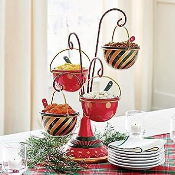 Yigenten Lindo Soporte navideño para tazón de Aperitivos, Plato de Postre de 3 Niveles para árbol de Navidad, Cesta Creativa para Aperitivos con Organizador de Cesta extraíble, Soportes (A)