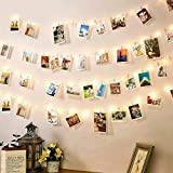 Photo Clip String Lights USB Powered with 100 Clear Clips, 100 LED Fairy Starry String Lights, Silver Wire Fairy String Lights for Hanging Photo Wall Wedding Party Christmas Decor