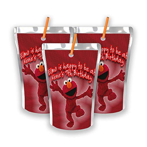 12 Personalized Elmo Birthday Party Juice Pouch Labels