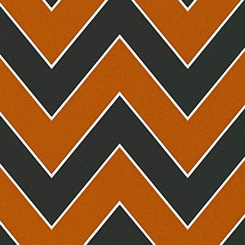 Papier peint année 70 Livingwalls'Styleguide Design' 347752 34775-2 Papier peint intissé   Orange/Terre cuite, Noir/Anthracite, Argent   Papier peint chambre   Échantillon (21 x 29,7 cm)