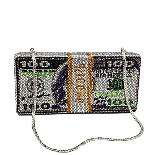 STACK OF CASH RICH Dollars Crystal Clutch Purses for Women Evening Bags Party Cocktail Rhinestone Handbags