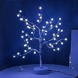 AVEKI - Lámpara LED de rama, 60 luces LED, diseño de estrellas con interruptor táctil, funciona con pilas o USB, para escritorio, sala de estar, dormitorio, decoración navideña (copo de nieve)