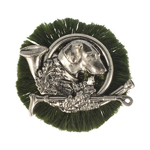 Hutansteker | hoedenbadge | jachtbadje | klederdracht-aansteker – jachthond – rond – Ø 4,5 cm – met groene rug.