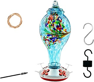 Hummingbird Feeder for Outdoors- Hand Blown Glass - Large 38 Ounces Colourful Hummingbird Including Hanging Wires,Hemp Rop...