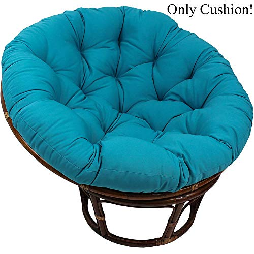 MSM Furniture Waterproof Papasan Chair Cushion,Overstuffed Round OVERSIZED Hanging Egg Swing Chair Pads,Thicken Seat Pad For Outdoor Peacock Blue Diameter:130cm/51inch