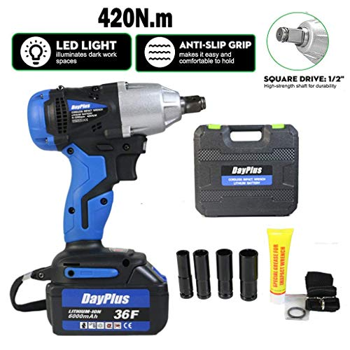Electric Power Impact Brushless Wrench Ratchet driver pistola Fast Charger 1 x Li-ion recargable, Torque dos ajustes Gear Baibao