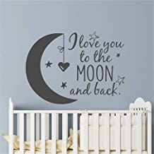Wall Decor Stickers for Living Room Moon with Stars Kids Room Nursery Decoration I Love You to The Moon and Back Quote Sticker Baby Gift