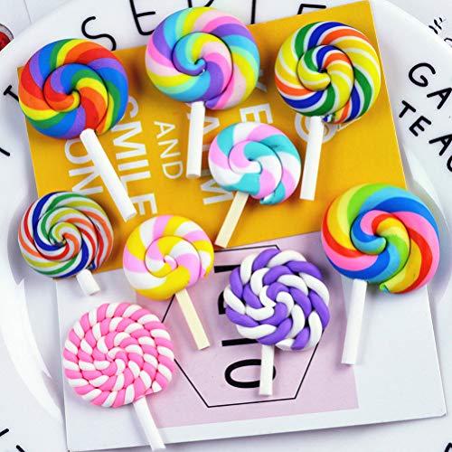 HEALLILY Lollipop Prop Arcilla Adorno de Caramelo para Bricolaje pasadores para el Cabello decoración artesanía Suministros 12 Piezas (Color y Estilo al Azar)