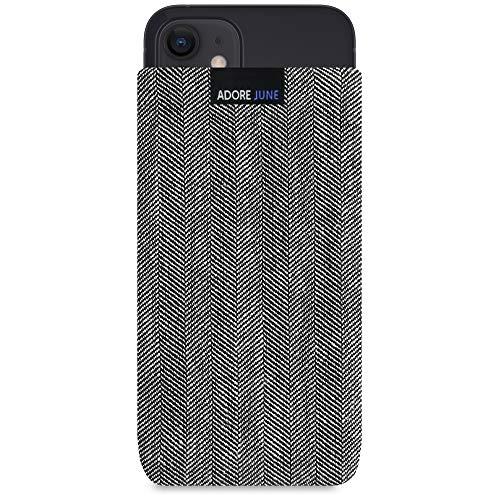 Adore June Business Tasche kompatibel mit iPhone 12 Mini Handytasche aus charakteristischem Fischgrat Stoff - Grau/Schwarz, Schutztasche Zubehör mit Bildschirm Reinigungs-Effekt