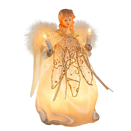 Kurt Adler 9-Inch 10 Light Ivory and Gold Angel Treetop
