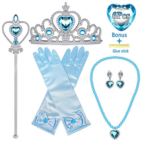 MISS FANTASY Elsa Crown Elsa Accessories for Girls Princess Accessories for Little Girls Elsa Costume Accessories for Girls Elsa Gloves Wand Necklace Earring for Halloween Party