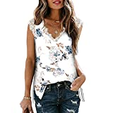 Mayntop Camiseta para mujer para verano, manga corta, encaje, con cuello en V, suelta, talla grande, C-white Blue, 42