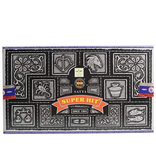 Satya - Bastoncini di incenso, Aroma: Satya Super Hit Nag Champa (12 Confezioni da Circa 12 Bastoncini)