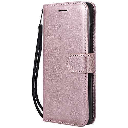 Hülle für Huawei P8 Lite 2017 Hülle Handyhülle [Standfunktion] [Kartenfach] Tasche Flip Hülle Cover Etui Schutzhülle lederhülle flip case für Huawei P8Lite 2017 - DEKT050861 Rosa Gold