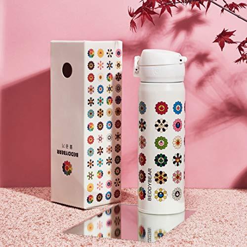 Täglicher Bedarfsun Flower Insulation Cup Herren Und Damen Edelstahl Water Cup Kreativer Tragbarer Wasserkocher Weiß 480Ml