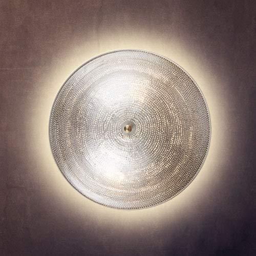 Orientalische Lampe Wandleuchte Paro Silber 48cm E14 | Marokkanische Metall Vintage Wandlampe Leuchte | Orient Lampen innen als Wanddeko im Wohnzimmer Flur aussen im Balkon oder Terrasse