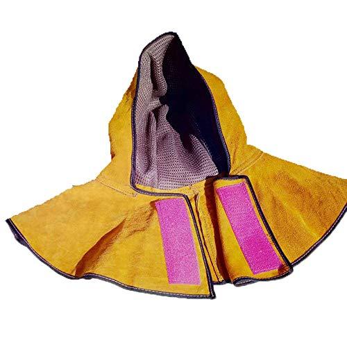Sipobuy Capucha De Soldador De Piel De Vaca, Gorro De Mantón, Sombrero De Soldadura ARC De Argón, Flor De Protección Contra Incendios Con Aislamiento Térmico, Protege El Cuello Y Los Hombros