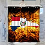 DRAGON VINES Cortina de ducha con diseño de mapa de la República Dominicana, 183 x 183 cm, impermeable, antimoho, cortina de baño con 12 ganchos de plástico, lavable