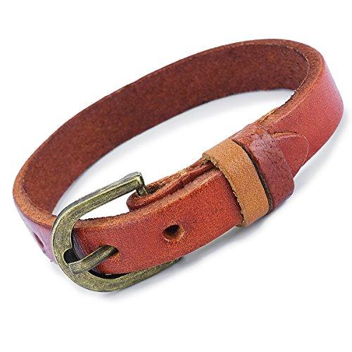 PAPAYANA A005-HN Elegantes schmales Herren Damen Leder-Armband Echtleder Messing verstellbar Hellbraun